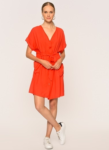 Loves You Düğmeli Beli Büzgülü Cepli Viskon Elbise Mercan